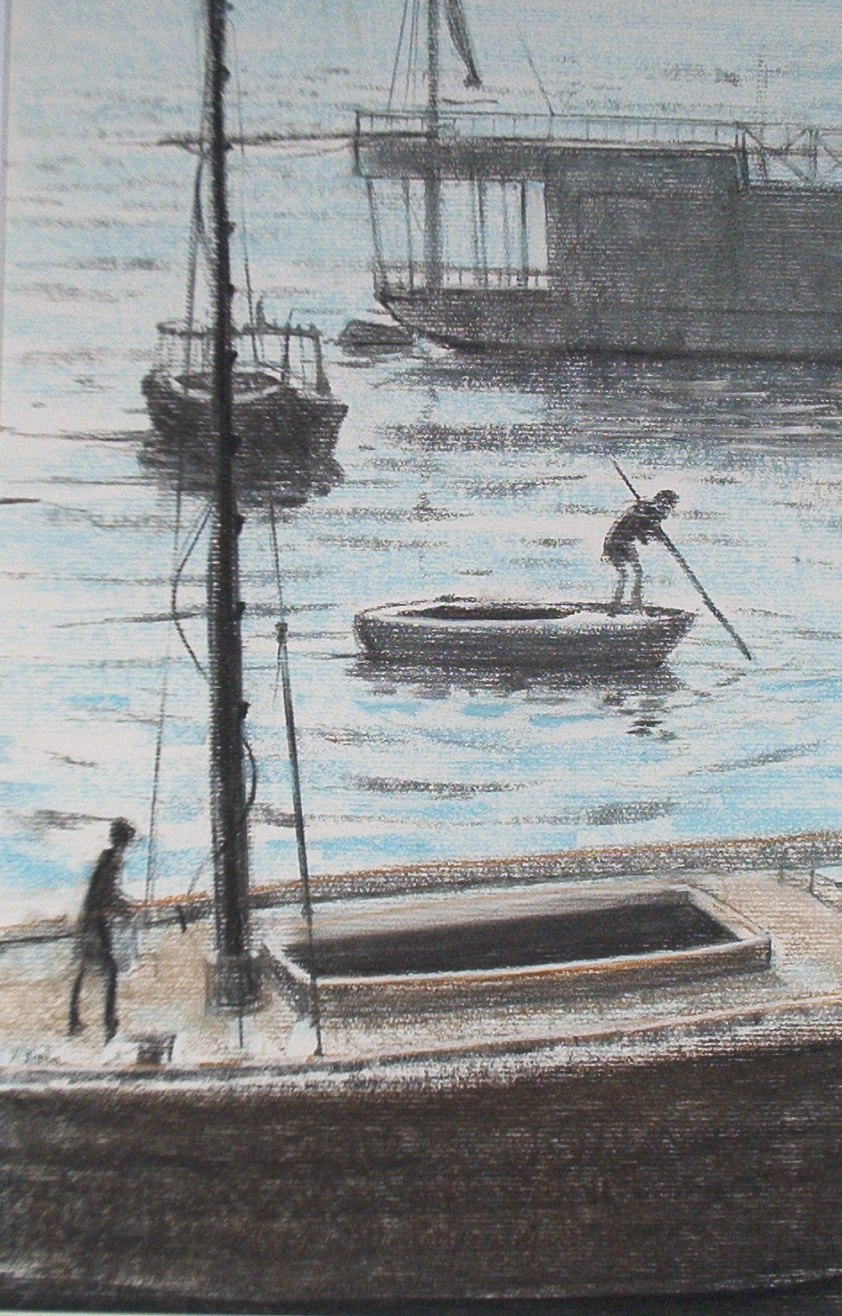 Pastel drawing of Nile houseboat