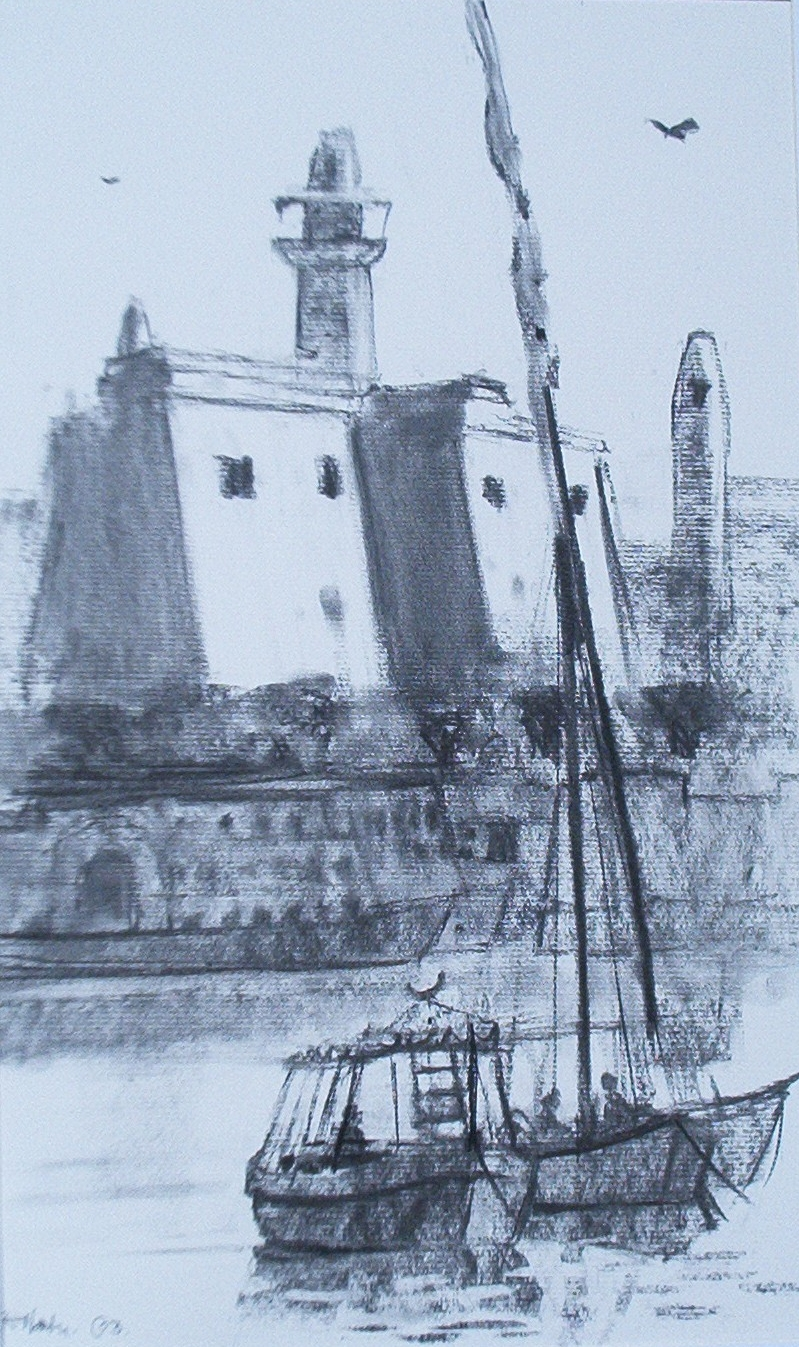 Pastel drawing of the pylons at Luxor Temple