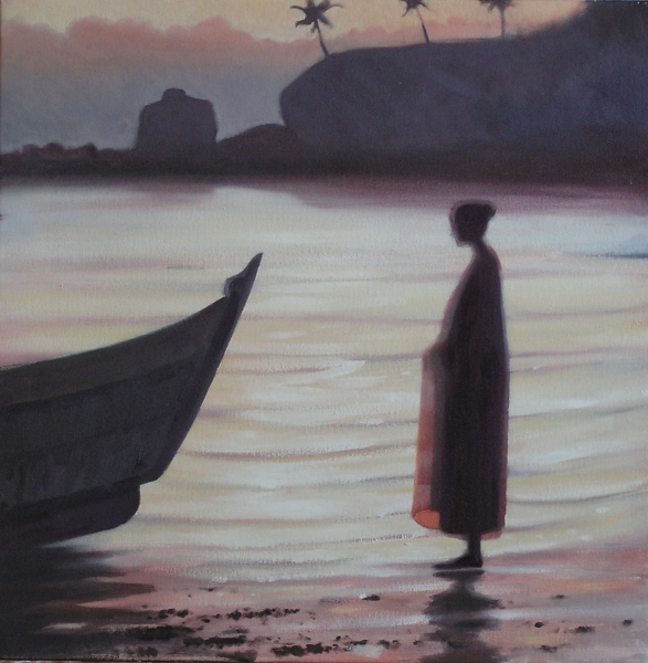Female figure on beach with boat prow